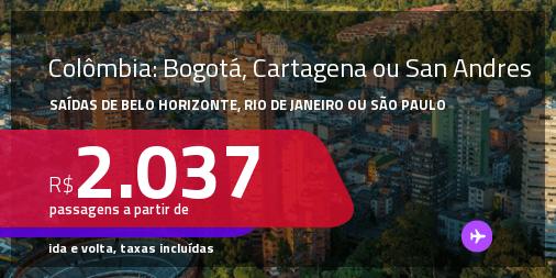 Passagens para a <strong>COLÔMBIA: Bogotá, Cartagena ou San Andres</strong>! A partir de R$ 2.037, ida e volta, c/ taxas! Datas até 2022!